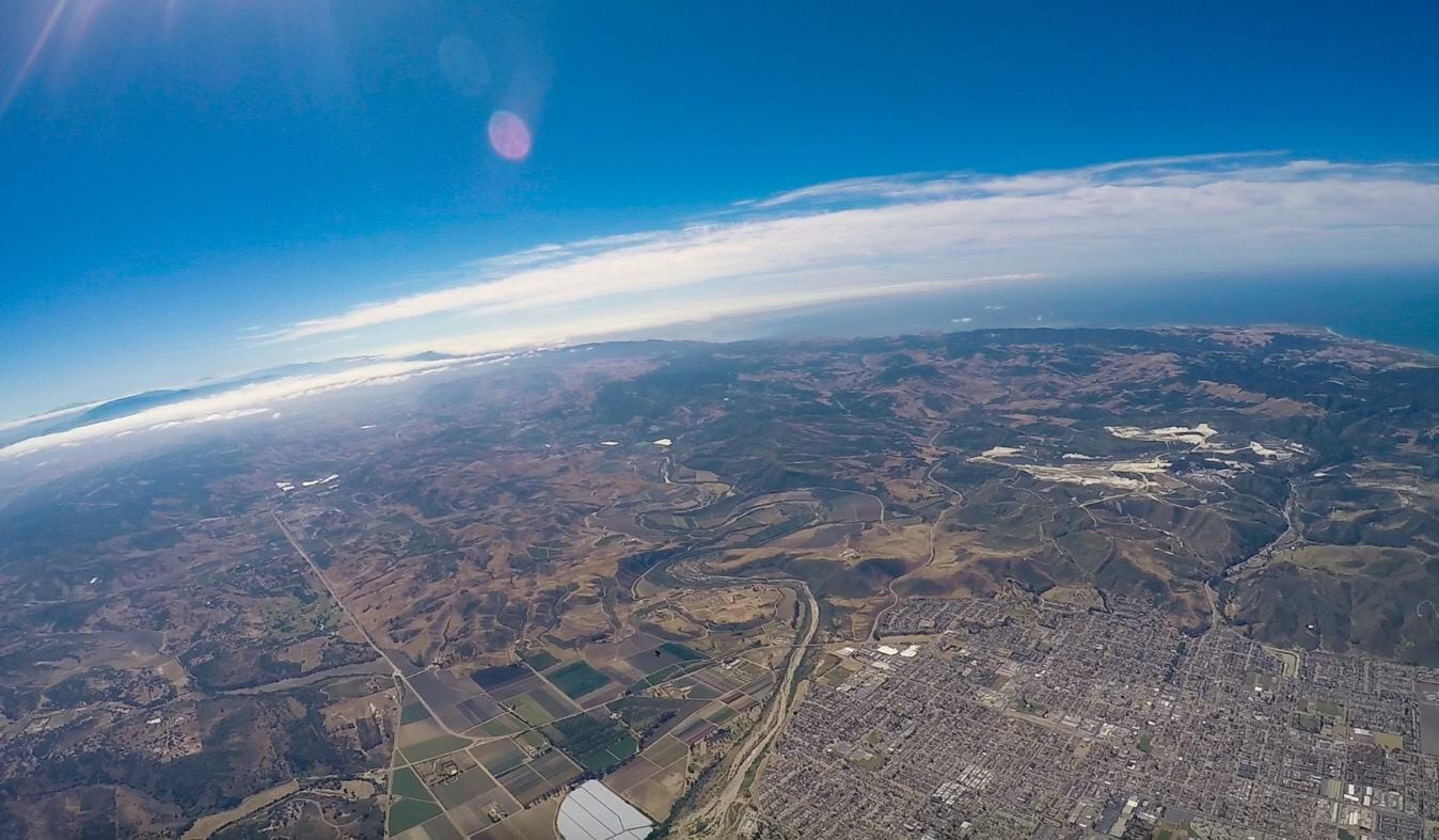 aerial view of central California coast